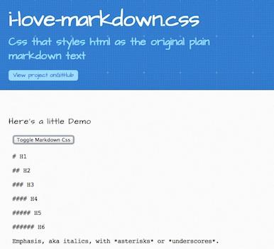 i-love-markdown.css homepage
